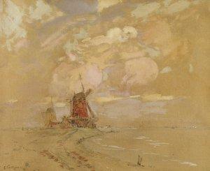 Holländische Landschaft mit Mühle