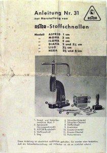 Anleitung Nr. 31 zur Herstellung von Astor-Stoffschnallen