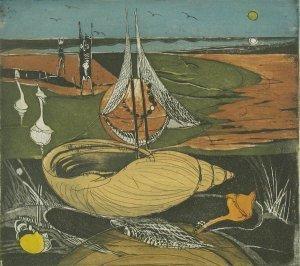 Meermuschelboot im Watt