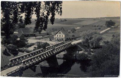 Gaujiena. Koka tilts pār Gauju