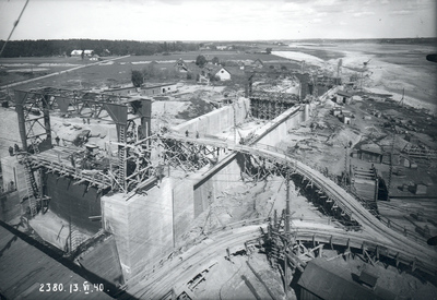 Ķeguma spēkstacijas plostu ceļa būves kopskats. 1940.gada 13.jūnijs