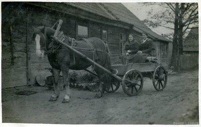 Jelgava. Mājas Bitenieki. Sievietes zirga pajūgā