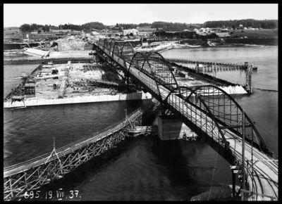 Ķeguma spēkstacijas būves kopskats. 1937.gada 19.augusts
