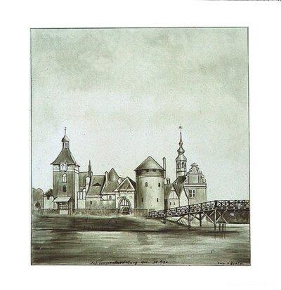 Jaunmoku muižas pils. Atklātņu kopiju fragments uz krāsns