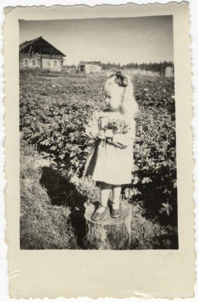 Tomskas apgabals. Divgadīga meitenīte uz koka bluķa kartupeļu laukā izsūtījumā Sibīrijā