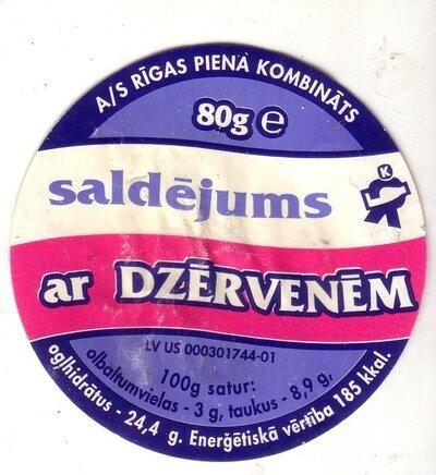 Saldējums ar dzērvenēm. Etiķete
