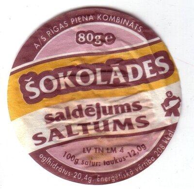 Šokolādes saldējums Saltums. Etiķete