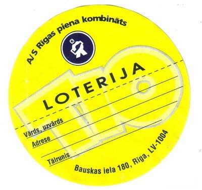 Saldējums TIO. Loterija. Etiķete