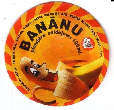 Banānu plombīra saldējums. Etiķete