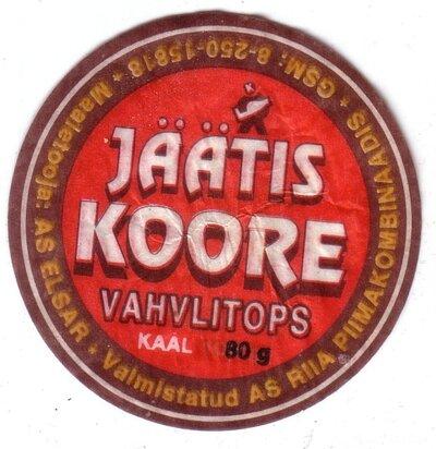 Saldējums Jäätis koore. Etiķete