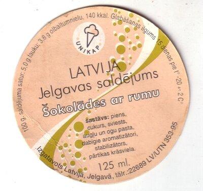 Latvija. Jelgavas saldējums. Šokolādes ar rumu. Etiķete