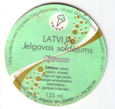 Latvija. Jelgavas saldējums. Citronu. Etiķete