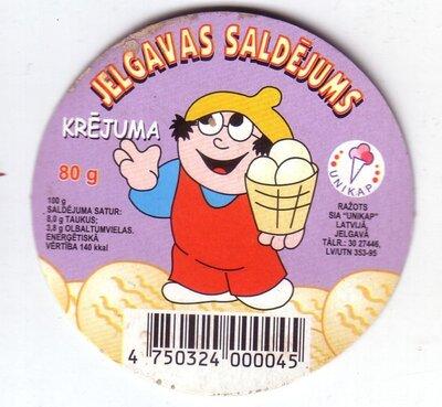 Jelgavas saldējums. Krējuma. Etiķete
