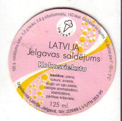 Latvija. Jelgavas saldējums. Kokosriekstu. Etiķete