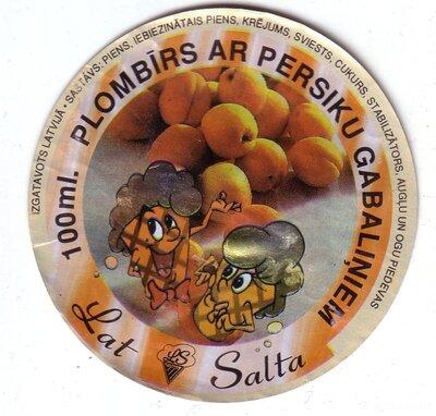 Plombīrs ar persiku gabaliņiem. Etiķete