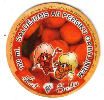 Saldējums ar persiku gabaliņiem. Etiķete
