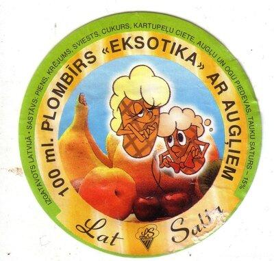 Plombīrs Eksotika ar augļiem. Etiķete