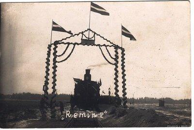 Rīgas- Ērgļu dzelzceļa līnijas atklāšana Remīnes stacijā
