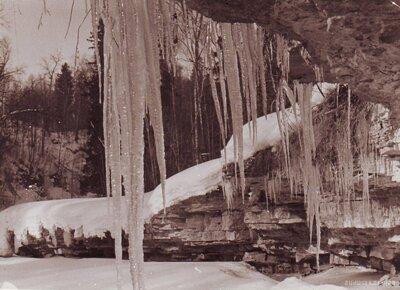 Koknese. Pērses ūdenskritums ziemā