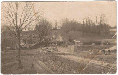 Gudenieku pagasts. Tilta būve pār Stirnas upi pie Gudenieku muižas