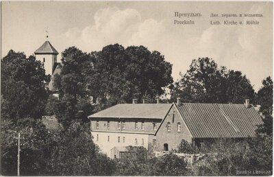 Priekules luterāņu baznīca un dzirnavas