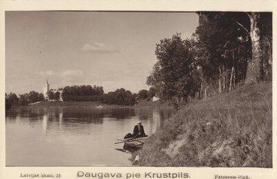 Daugava pie Krustpils. Krustpils evanģēliski luteriskā baznīca