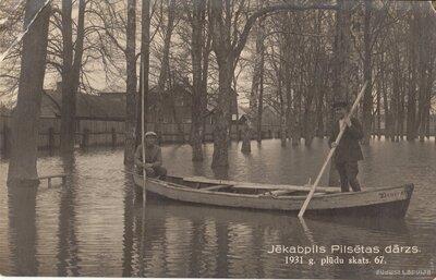 Jēkabpils. Strūves parks 1931. gada plūdos