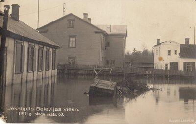 Jēkabpils. Viesnīca Bellevue 1931. gada plūdos