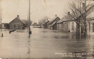 Jēkabpils. Zvanītāju iela 1931. gada plūdos