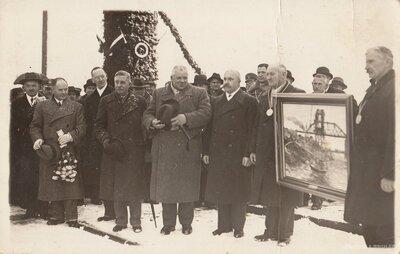 Krustpils - Jēkabpils tilta atklāšana, piedaloties Valsts prezidentam Kārlim Ulmanim
