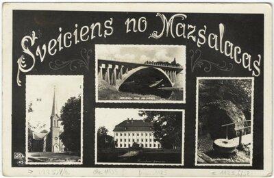 Mazsalaca. Mazsalacas dzelzceļa tilts, Valtenberģu pils, luterāņu baznīca, avotiņš
