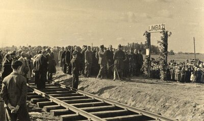 Limbaži. Pirmā vilciena sagaidīšana