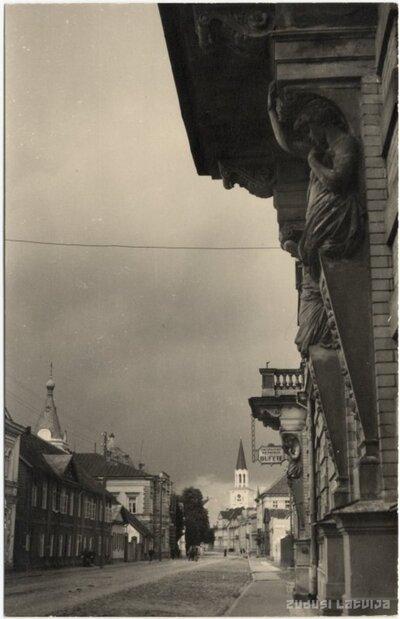 Jelgavas Amatnieku biedrības ēkas fasādes sānskats Akadēmijas ielā