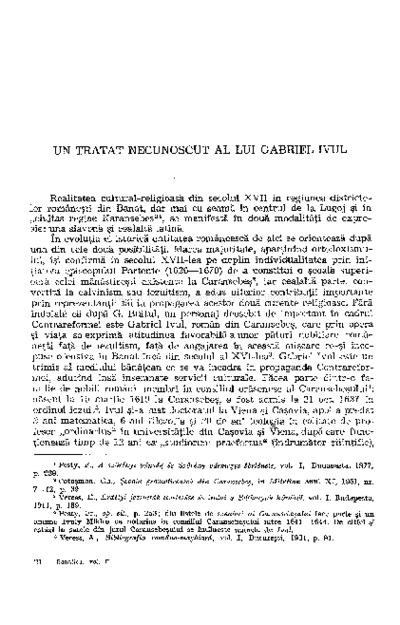 Un tratat necunoscut (1663) a lui Gabriel Ivul