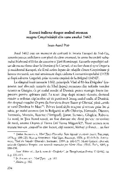 Ecouri italiene despre asaltul otoman asupra creştinătăţii din vara anului 1462