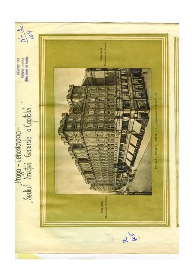 Reproducere foto, Vedere din Praga, sediul Directiei Generale a Capitalei, Cehoslovacia; i-a apartinut lui Dumitru               Dan