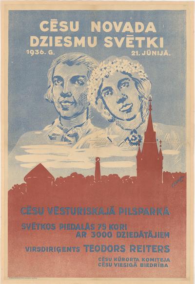 Cēsu novada Dziesmu svētki 1936.g. 21.jūnijā Cēsu vēsturiskajā pilsparkā