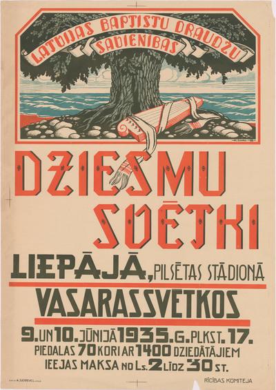 Latvijas baptistu draudžu savienības Dziesmu svētki Liepājā, Vasarassvētkos 9. un 10.jūnijā 1935.g.