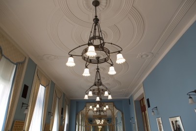 Hotel Union, Ljubljana, Lamps in Blue hall