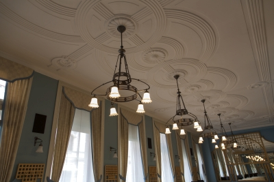 Hotel Union, Ljubljana, Lamps and ceiling decoration in Blue hall