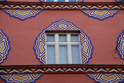 Cooperative Bank, Ljubljana, Window with decorations
