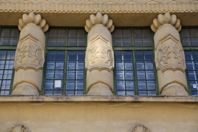Sokol Gymnastic Society's Hall, Ljubljana, Decorated exterior above entrance