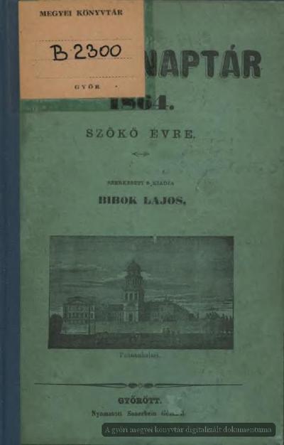 Győri naptár 1864. szökő évre
