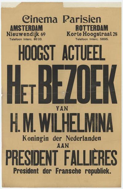 Het Bezoek van H.M. Wilhelmina aan president Fallières
