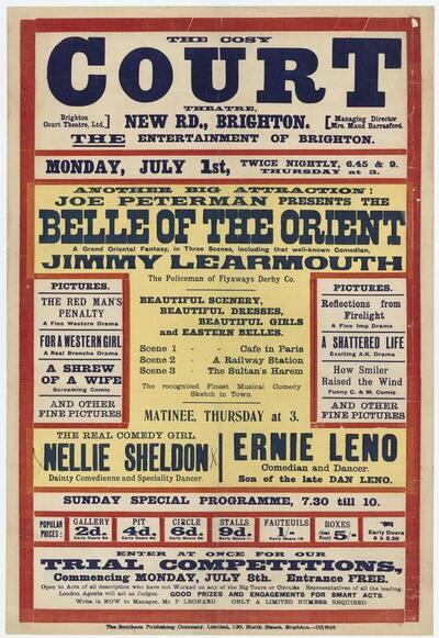 The Cosy Court Theatre. New Rd. Brighton. The entertainment of Brighton