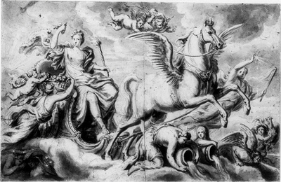 Drottning Ulrika Eleonora som Aurora, åkande efter en bevingad häst