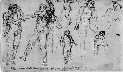 Agamamnon hotar att beröva Achilles Briseis. Illustrationsutkast till Iliaden