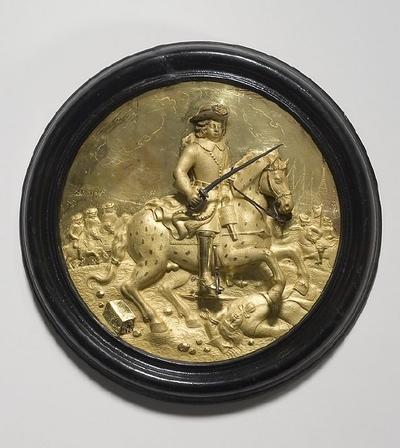 Reliefplatta: Karl XI vid slaget vid Lund