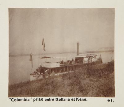 Fotografi. Ångfartyget Columbia fotograferad mellan Beliane (El-Balyana?) och Qena, Egypten.