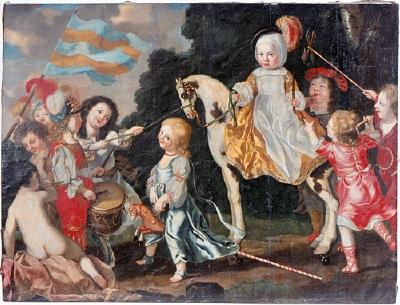 Carl Gustav Wrangels barn, lekande med trumma, käpphäst och vindsnurra samt stripad blå och gul fana. Oljemålning på duk.